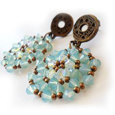 Opal Blue Circle Beads Earrings  Swarovski elegant earrings jewels  by dicopebisuteria, $34.00