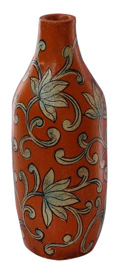 """Bulk Wholesale Handmade 8"""" Bottle-Shaped Orange & Yellow Flower Vase in Terracotta Decorated with Traditional-Look Motifs in Cone-Painting Art – Ethnic Look Vases from India – Home / Garden Décor"""