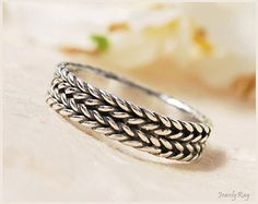 double braided ring , oxidized silver ring , VALENTINE'S DAY SALE , silver band ring
