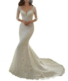 Cardol Flower Appliques Mermaid Half Sleeves Lace Wedding Dresses Bridal Wedding Gowns at Amazon Women's Clothing store: