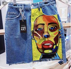 34 Trendy Ideas Diy Fashion No Sew Jeans Denim Skirts Diy Outfits, Skirt Outfits, Look Fashion, Diy Fashion, Fashion Outfits, Fashion Design, Painted Jeans, Painted Clothes, Denim Art