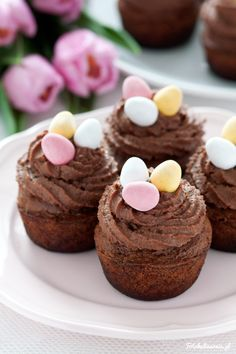 Chocolate Carrot Cupcakes with Chocolate Mascarpone Cream, decorated with Easter Eggs.