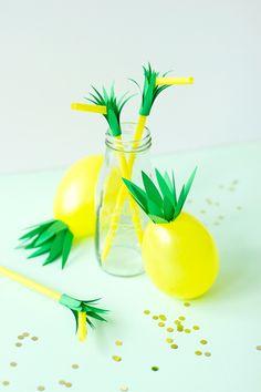 DIY Pineapple Balloons & Straws
