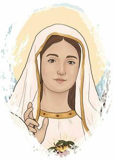 Jesus Mother, Blessed Mother Mary, Blessed Virgin Mary, Catholic Religion, Catholic Art, Religious Art, Christian Drawings, Christian Artwork, Virgin Mary Art
