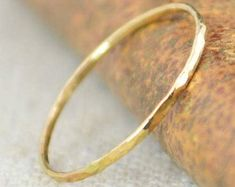 TWO tiny delicate solid Yellow, White or Rose Gold Hammered Stacking Rings with Diamonds