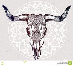 mandala animals: Hand drawn romantic tattoo style ornate decorative desert cow or buffalo skull. Ethnic design mystic tribal boho symbol for your use. Hand Tattoos, Cow Skull Tattoos, Cow Tattoo, Bull Tattoos, Taurus Tattoos, Body Art Tattoos, Tattoo Life, Bull Skulls, Animal Skulls