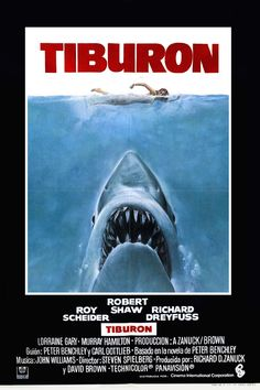 Directed by Steven Spielberg. With Roy Scheider, Robert Shaw, Richard Dreyfuss, Lorraine Gary. A local sheriff, a marine biologist and an old seafarer team up to hunt down a great white shark wrecking havoc in a beach resort. Jaws Movie Poster, Movie Poster Frames, Film Posters, Cinema Posters, Scary Movies, Great Movies, Horror Movies, Pet Sematary, Love Movie