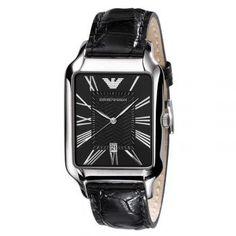 AR0425 Armani Watches For Men, Casual Watches, Roman Numerals, Emporio Armani, Quartz, Band, Silver, Leather, Accessories