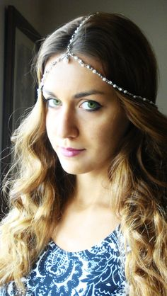 Bohemian Silver Pearl Head Chain Headpiece Vintage Head by Ninnos, $30.00