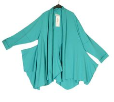 Martine Samoun Prettiest Turquoise Asymmetric Jacket-Martine Samoun , lagenlook, womens plus size UK clothing, ladies plus size lagenlook fashion clothing, plus size coats, plus size dresses, plus size jackets, plus size trousers, plus size skirts, plus size petticoats, plus size blouses, plus size shirts, plus size tops, plus size tunics, lagenlook plus size fashion clothing