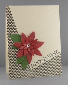mod look Christmas card  by SPARKS DT Lynn Mangan ... tilted top panel ... edgy black and white tiny triangles all-over prin ... die cut layered poinsettia ...  luv the fresh look ...