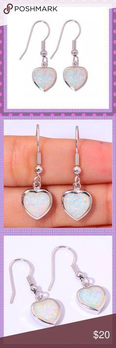 "Heart Shaped White Fire Opal Pierced Earrings GORGEOUS Stamped Sterling Silver Heart Shaped White Fire Opal Dangle Pierced Earrings. Approx. 1 1/4"" LCOMES IN JEWELRY BOXPRICE IS FIRM Boutique Jewelry Earrings"