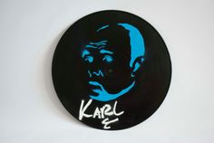 Karl Pilkington Stencil Record by AllSurfacesDesign on Etsy, $15.00