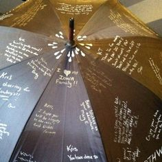 Have friends sign an umbrella with waterproof markers as a going away gift!
