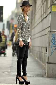street style and polka dot jacket