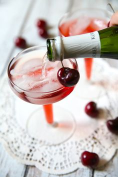 Delicious Cherry Mimosas from Pizzazzerie.com  3 ounces tart cherry juice 3 ounces champagne or sparkling wine cherries for garnish