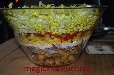 Sałatka warstwowa Gyros-kebab Chicken Egg Salad, Lunch Recipes, Guacamole, Salsa, Cabbage, Food And Drink, Eggs, Vegetables, Ethnic Recipes