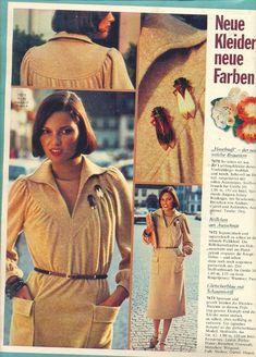 1976 Yellow Dress 70s Fashion, Fashion History, Vintage Fashion, Womens Fashion, Vintage Style, Teen Skirts, Dress Skirt, Shirt Dress, Burda Patterns