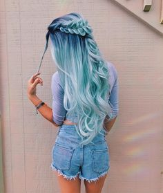 blue hair color | ombre | cotton candy | ocean | crown braid | fishtail | long curly hairstyle