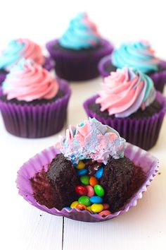 M&M Surprise Cupcakes with Rainbow Frosting