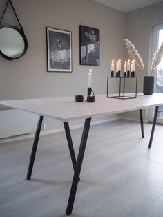 Spisebord - DIY | HVITELINJER : HVITELINJER Farmhouse Kitchen Tables, Diy Dining Table, Ikea Table Legs, Diy Interior, Interior Design, Apartment Makeover, Dining Room Design, New Room, Room Decor