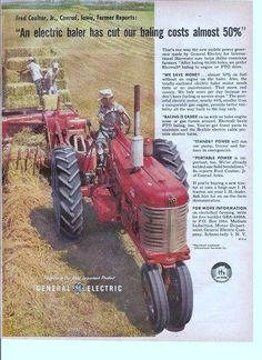 GE ad about an electric baler; features a nice #Farmall tractor.