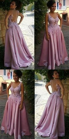 Sexy Lace Appliques Prom Dress, Illusion Bodice Satin Prom Dress, Pink Long Formal Dress by RosyProm, $162.44 USD