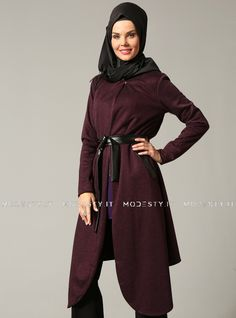 islamische kleidung fuer frauen mymodestystyle.com besuchen sie unsere shop #hijab #abayas #tuekische kleider #abendleider #islamischekleidung  Leather Belted Topcoat - Plum - Refka - <p>Fabric Info:</p> <p>50% Viscose</p> <p>50% Polyester</p> <br> <p>Unlined</p> <p>Weight: 0.596 kg</p> <p>Measures of 38 size:</p> <p>Height: 118 cm</p> <p>Bust: 96 cm</p> <p>Waist: 94 cm</p> <p>Hips: 100 cm</p> - SKU: 153130. Buy now at http://muslimas-shop.com/leather-belted-topcoat-plum-refka.html