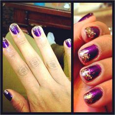 Purple n Gold glitter tips