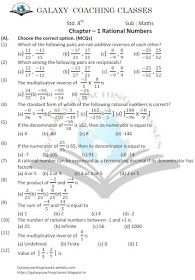 Worksheet Class 8 Ch 1 Rational Numbers Rational Numbers Class