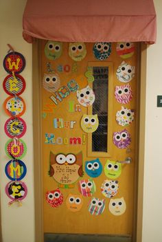 I like the owls, but I would put up a piece of paper first. I can't read the words on the wood door.