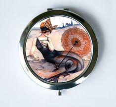 Mermaid Compact Mirror Pocket Mirror flapper beach by che655