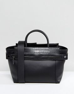 9e61e77b65 Fiorelli Abbey Zip Detail Tote Bag in Black Faux Croc Mix