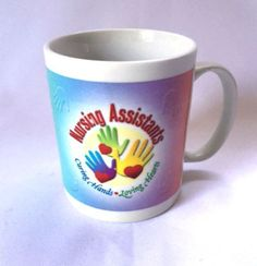 Nursing Assistant Mug Caring Hands Loving Hearts Health Care CNA Coffee Cup
