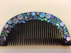 Vintage Plastic Hair Comb with Mother of Pearl, Abolone Shell Insert | eBay