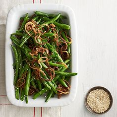 Sesame-Ginger Green Beans - It only takes a few ingredients to liven up green beans by adding a delicious sesame-ginger dressing. #myplate #vegetables