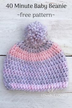 40 Minute Baby Beanie free crochet pattern! #babybeanie #babyhat #babycrochet #freecrochetpattern #crochet #lovableloops