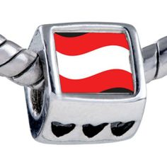 Pugster Silver Plated Photo Bead Austria Flag Beads Fits Pandora Bracelet Pugster. $12.49. It's the photo on the heart charm. Fit Pandora, Biagi, and Chamilia Charm Bead Bracelets. Unthreaded European story bracelet design. Bracelet sold separately. Hole size is approximately 4.8 to 5mm