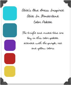blue, aqua purple and red color palette, Alice in Wonderland