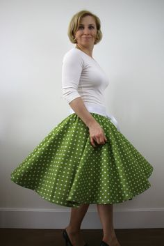 A personal favourite from my Etsy shop https://www.etsy.com/listing/517687363/green-polka-dots-circle-skirt-for-women