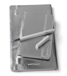 Poppin Silver Soft Cover Notebooks | Desk Accessories | Cool Office Supplies #workhappy