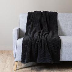 Plaid en tissu noir 150 x 230 cm BOSTON