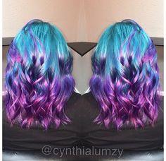 Love! Blue and purple hair