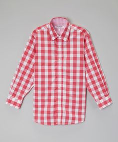 Look at this Isaac Mizrahi Pink & Fuchsia Check Button-Up - Toddler & Boys on #zulily today!