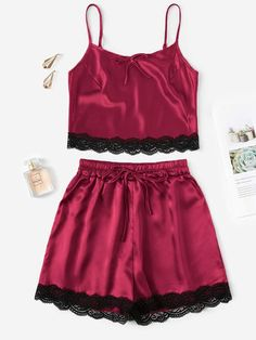 To find out about the Crochet Trim Satin Cami PJ Set at SHEIN, part of our latest Night Sets ready to shop online today! Cute Pajama Sets, Cute Pjs, Cute Pajamas, Pj Sets, Cute Sleepwear, Lingerie Sleepwear, Jolie Lingerie, Women Lingerie, Pijamas Women