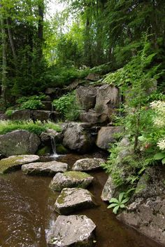 This is a constructed landscape on a hillside - made to look natural with water features and ponds - See more at: http://www.douggreensgarden.com/free-landscaping-ideas.html#sthash.jSBTBinG.dpuf