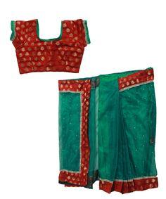 Set: blouse, saree & petticoat www. Kids Saree, Saree Petticoat, Half Saree, Indian Dresses, Casual Shorts, Blouse, Women, Fashion, Indian Gowns