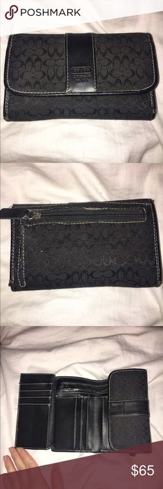 Authentic Coach Wallet Authentic Coach Wallet. Used but great condition. Small and compact yet tons of room inside for cash and cards! Logo cloth pattern with leather detailing. Open to offers. Coach Bags Wallets