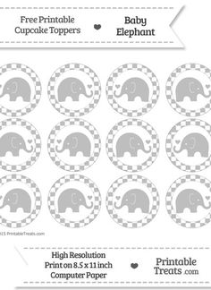 Free Pastel Light Grey  Checker Pattern Baby Elephant Cupcake Toppers