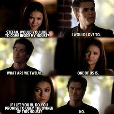 Love this scene tvd vampire diaries, candice accola, paul wesley. Vampire Diaries Stefan, Vampire Diaries Memes, Vampire Diaries The Originals, Stefan Vampire, Candice Accola, Paul Wesley, Tvd Quotes, Movie Quotes, Funny Quotes